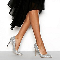 Faith - Silver glitter 'Chloe Sparkle' high stiletto heel pointed shoes
