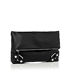 Faith - Black faux leather 'Piper' fold-over clutch bag