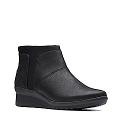 Clarks - Black 'Caddell Sloane' mid wedge heel ankle boots