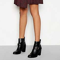 Faith - Black faux leather high block heel ankle boots