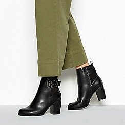 Faith - Black Faux Leather 'Wand' High Block Heel Wide Fit Ankle Boots