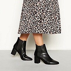 Faith - Black faux leather 'Block' high block heel ankle boots