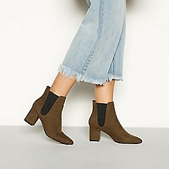 Faith - Khaki suedette 'Block' high block heel ankle boots