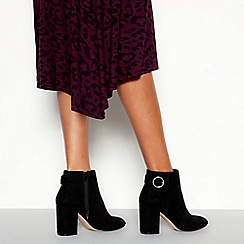 Faith - Black Suedette 'Weryna' High Block Heel Wide fit Ankle Boots