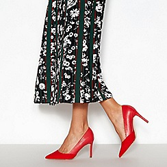 Faith - Red Croc Trim 'Wegan' Pointed Toe Wide Fit Stiletto Heel Courts