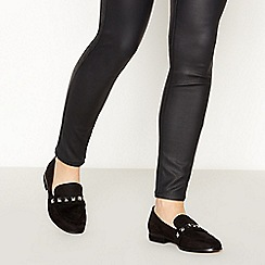 Faith - Black Suedette 'Wes' Studded Wide Fit Loafers