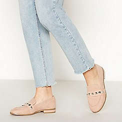 Faith - Nude Suedette 'Wes' Studded Wide Fit Loafers