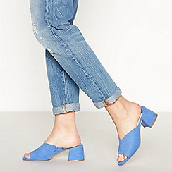 Faith - Blue Suedette 'Doctor' Mid Block Heel Mules