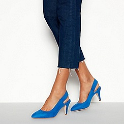 Faith - Blue Suedette 'Calmond' Mid Stiletto Heel Slingbacks