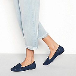 Faith - Navy 'Arrow' floral cut out ballet pumps