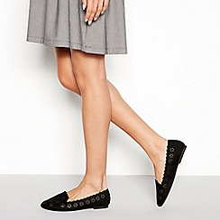 Faith - Black 'Arrow' floral cut out ballet pumps