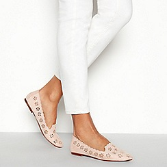 Faith - Natural 'Arrow' Floral Ballet Pumps
