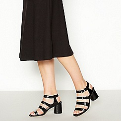 Faith - Black Croc-Effect 'Dishier' Block Heel Sandals
