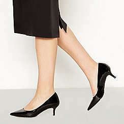 Faith - Black Patent Pointed Toe Kitten Heel Court Shoes