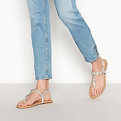 Faith - Silver Floral Diamante 'Jiler' Sandals