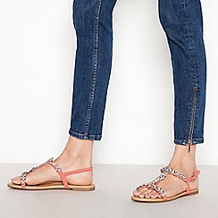 Faith - Coral Floral Diamante 'Wile' Wide Fit Sandals