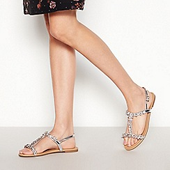 Faith - Silver Floral Diamante 'Wile' Wide Fit Sandals