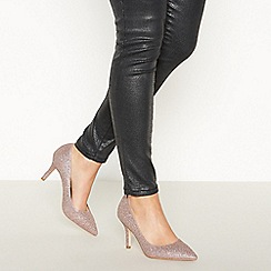 Faith - Pink Glitter 'Chariot' Mid Stiletto Heel Wide Fit Court Shoes