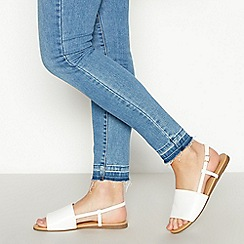 Faith - White Faux Leather 'Jia' Wide Fit Sandals