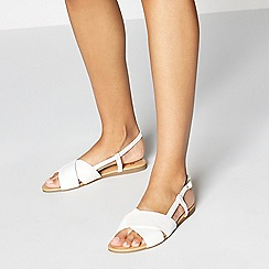 Faith - White Faux Leather 'Jias' Sandals