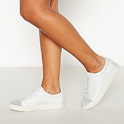 Faith - White Embellished 'West' PU Trainers