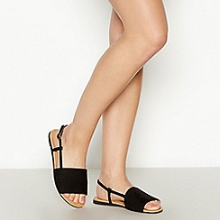 Faith - Black Faux Suede 'Jia' Wide Fit Sandals
