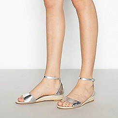 Faith - Silver 'Jesper' Wedge Heel Sandals