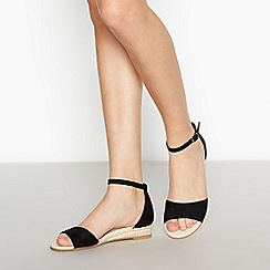 Faith - Black 'Jesper' Low Wedge Sandals
