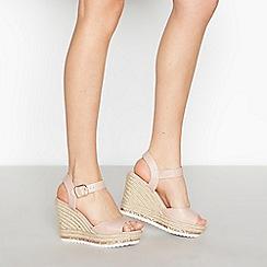 Faith - Pink Glitter Trim 'Lydia' Wedge Heel Sandals