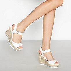 Faith - White Glitter Trim 'Lydia' Wedge Heel Sandals