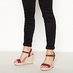 Faith - Pink Leopard Print High Wedge Heel Sandals