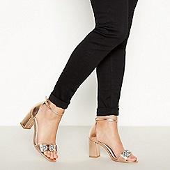 Faith - Rose Pink Jewel Encrusted Block Heel Wide Fit Sandals