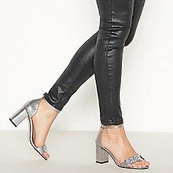 Faith - Silver Pink Jewel Encrusted Block Heel Wide Fit Sandals