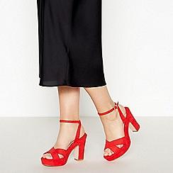 Faith - Red Suedette  Dormer  High Platform Heel Sandals