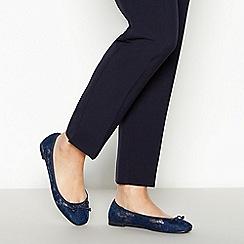 Principles - Navy Floral Lace 'Calissa' Wide Fit Ballet Pumps