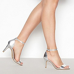 Debut - Silver 'Daisy' Mid Stiletto Heel Sandals