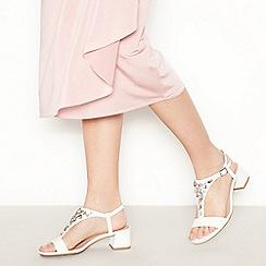 Debut - White Embellished 'Darcy' T-Bar Sandals
