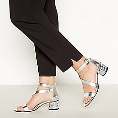 Debut - Silver Gemstone 'Dixie' Mid Block Heel Sandals