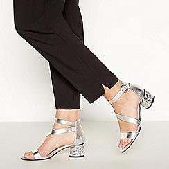 Debut - Silver Gemstone 'Dixie' Mid Block Heel Sandals