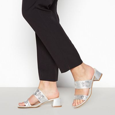 067010418197: Silver Ditzy Block Heel Wide Fit Sandals