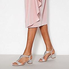 Debut - Silver Embellished 'Darcy' T-Bar Sandals