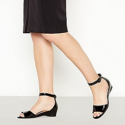 Good for the Sole - Black Patent 'Georgia' Wide and Comfort Fit Wedge Sandals