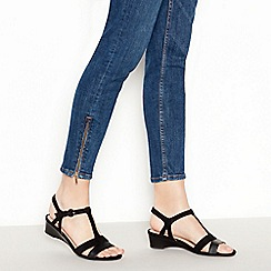 Good for the Sole - Black Suedette 'Georgina' Mid Wedge Heel Wide and Comfort Fit T-Bar Sandals