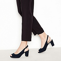 Good for the Sole - Navy Suedette 'Geovanna' Mid Block Heel Peep Toe Wide and Comfort Fit Court Shoes