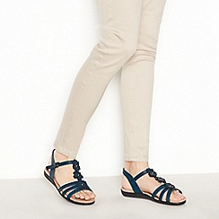 Good for the Sole - Navy Flower Detail 'Gerbera' Wide Fit Sandals