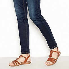 Good for the Sole - Tan Flower Detail 'Gerbera' Wide and Comfort Fit Sandals