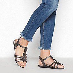 Good for the Sole - Metallic Flower 'Gerbera' Wide Fit Sandals