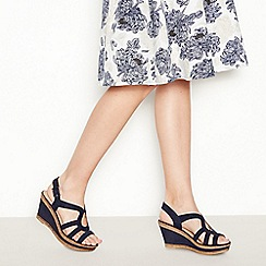Good for the Sole - Navy Suedette 'Mod Cross' Wedge Heel Wide and Comfort Fit Sandals