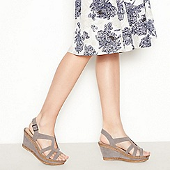 Good for the Sole - Grey Suedette 'Mod Cross' Wedge Heel Wide and Comfort Fit Sandals