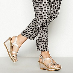 Good for the Sole - Gold Faux Leather 'Mod Cross' High Wedge Heel Wide Fit Sandals